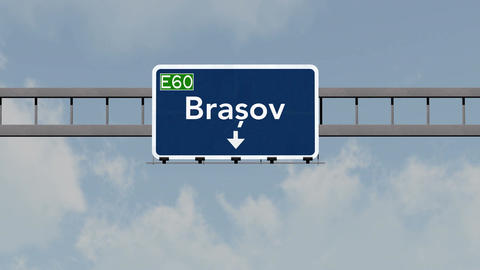 4K Passing Brasov Romania Highway Road Sign With Matte 1 Neutral stock footage
