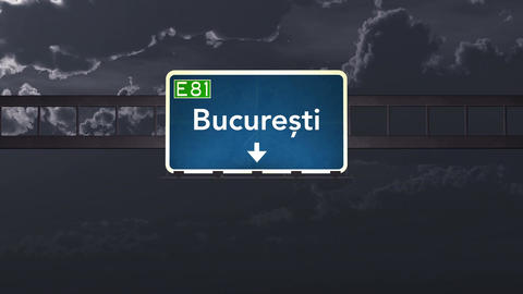4K Passing Bucharest Romania Highway Sign At Night With Matte 1 Neutral stock footage