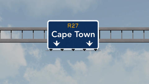 4K Passing Cape Town South Africa Highway Road Sign with Matte 1 neutral Animation