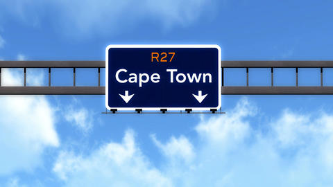 4K Passing Cape Town South Africa Highway Road Sign with Matte 2 stylized Animation