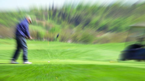 Golfer Makes Hitting The Ball stock footage