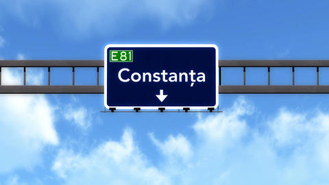 4K Passing Constanta Romania Highway Road Sign With Matte 2 Stylized stock footage