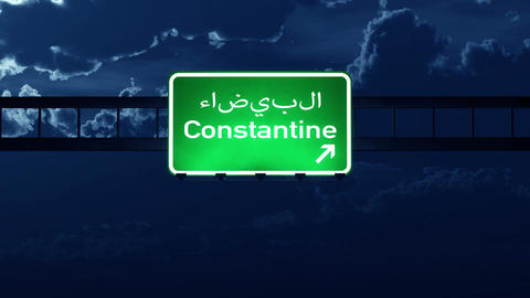 4K Passing Constantine Algeria Highway Sign at Night with Matte 2 stylized Animation