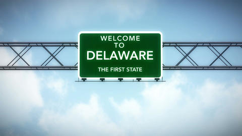 4K Passing Delaware USA State Border Welcome Road Sign with Matte 2 stylized Animation