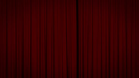 Red curtain with spotlight opening Stock Video Footage