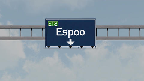 4K Passing Espoo Finland Highway Road Sign with Matte 1 neutral_1 Animation