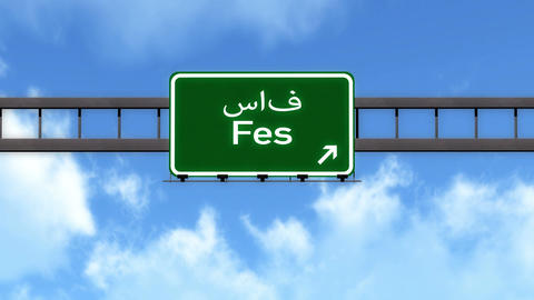 4K Passing Fes Morocco Highway Road Sign with Matte 2 stylized Animation