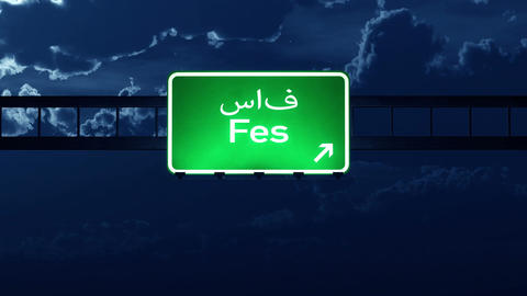 4K Passing Fes Morocco Highway Sign at Night with Matte 2 stylized Animation