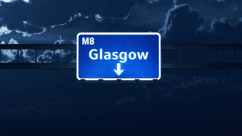 4K Passing Glasgow Scotland Highway Sign at Night with Matte 2 stylized Animation