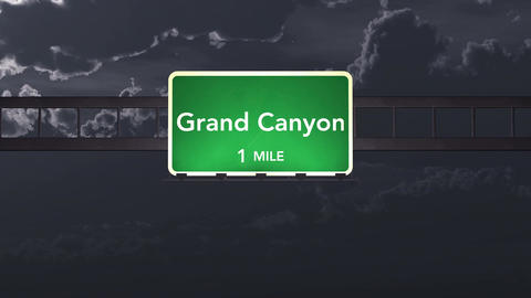 4K Passing Grand Canyon USA Highway Sign at Night with Matte 1 neutral Animation