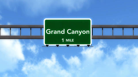 4K Passing Grand Canyon United States Highway Road Sign with Matte 2 stylized Animation