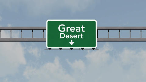 4K Passing Great Desert Australia Highway Road Sign with Matte 1 neutral Animation