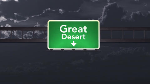 4K Passing Great Desert Australia Highway Sign at Night with Matte 1 neutral Animation