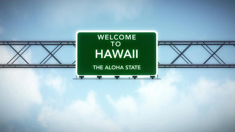 4K Passing Hawaii USA State Border Welcome Road Sign with... Stock Video Footage