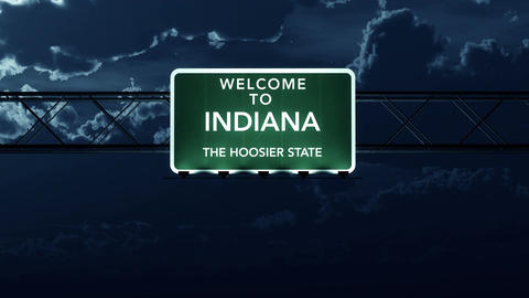 4K Passing Indiana USA State Border Welcome Road Sign at Night with Matte 2 styl Animation