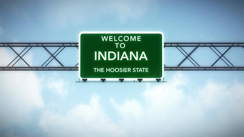 4K Passing Indiana USA State Border Welcome Road Sign With Matte 2 Stylized stock footage