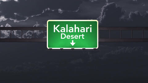 4K Passing Kalahari Desert Africa Highway Sign at Night with Matte 1 neutral Animation