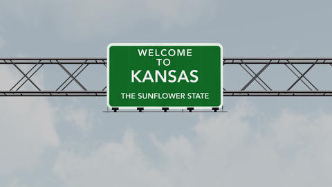 4K Passing Kansas USA State Border Welcome Road Sign with Matte 1 neutral Animation