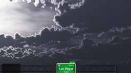 4K Passing Las Vegas USA Interstate Highway Road Sign at... Stock Video Footage