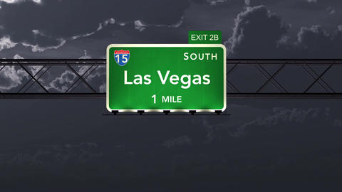 4K Passing Las Vegas USA Interstate Highway Road Sign at Night with Matte 1 neut Animation