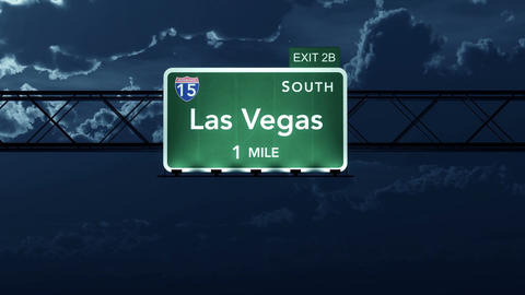 4K Passing Las Vegas USA Interstate Highway Road Sign at Night with Matte 2 styl Animation