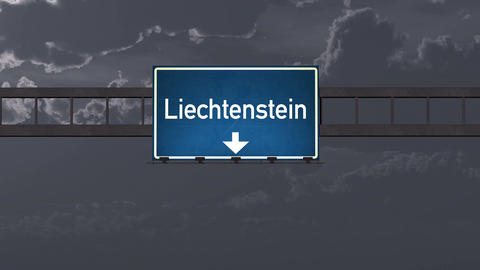4K Passing Liechtenstein Highway Road Sign at Night with Matte 1 neutral Animation