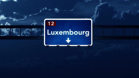 4K Passing Luxembourg Highway Sign at Night with Matte 2 stylized Animation