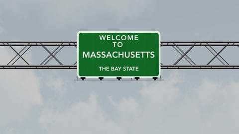 4K Passing Massachusetts USA State Border Welcome Road Sign with Matte 1 neutral Animation