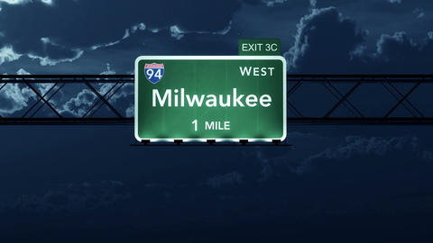 4K Passing Milwaukee USA Interstate Highway Road Sign at Night with Matte 2 styl Animation