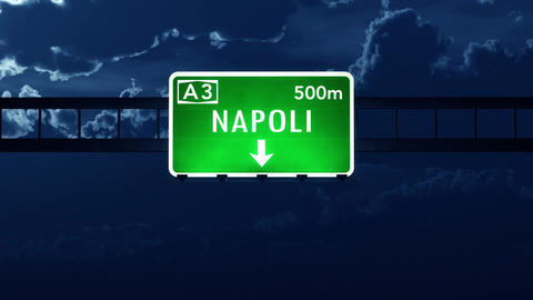 4K Passing Napoli Italy Highway Sign at Night with Matte 2 stylized Animation