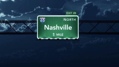 4K Passing Nashville USA Interstate Highway Road Sign at Night with Matte 2 styl Animation