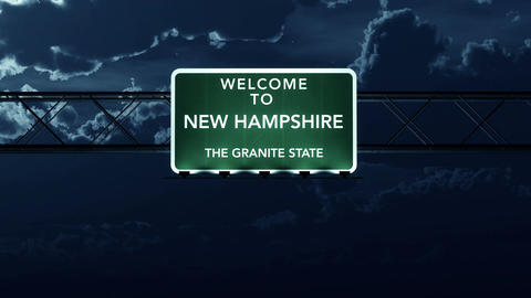 4K Passing New Hampshire USA State Border Welcome Road Sign at Night with Matte  Animation
