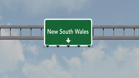 4K Passing New South Wales Australia Highway Road Sign with Matte 1 neutral Animation