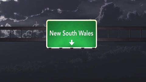 4K Passing New South Wales Australia Highway Sign at Night with Matte 1 neutral Animation