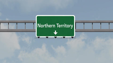 4K Passing Northern Territory Australia Highway Road Sign with Matte 1 neutral Animation
