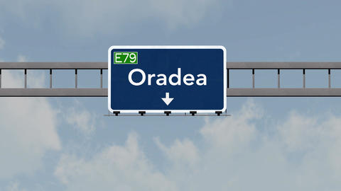 4K Passing Oradea Romania Highway Road Sign With Matte 1 Neutral stock footage
