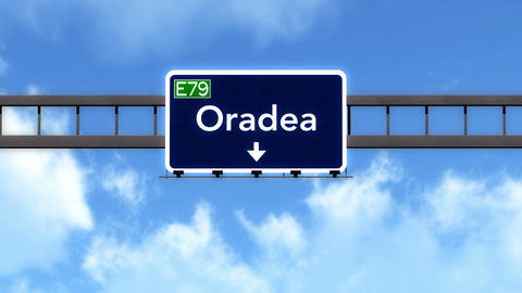 4K Passing Oradea Romania Highway Road Sign With Matte 2 Stylized stock footage