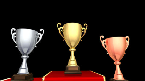 Podium Prize Trophy Cup Aa HD Stock Video Footage