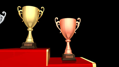 Podium Prize Trophy Cup Ba HD Stock Video Footage