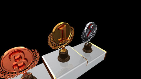Podium Prize Trophy Ec2 HD Stock Video Footage