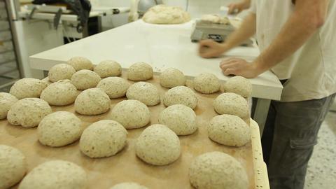 baker bakery baking bread pastry flour bake Factory dough... Stock Video Footage