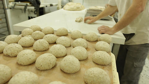 baker bakery baking bread pastry flour bake Factory dough... Stock Video Footage