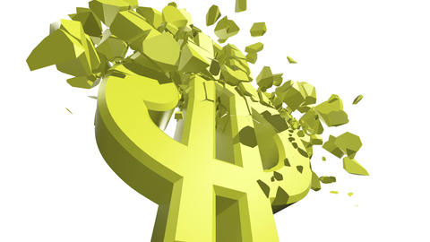 Crumbling Dollar Sign Stock Video Footage