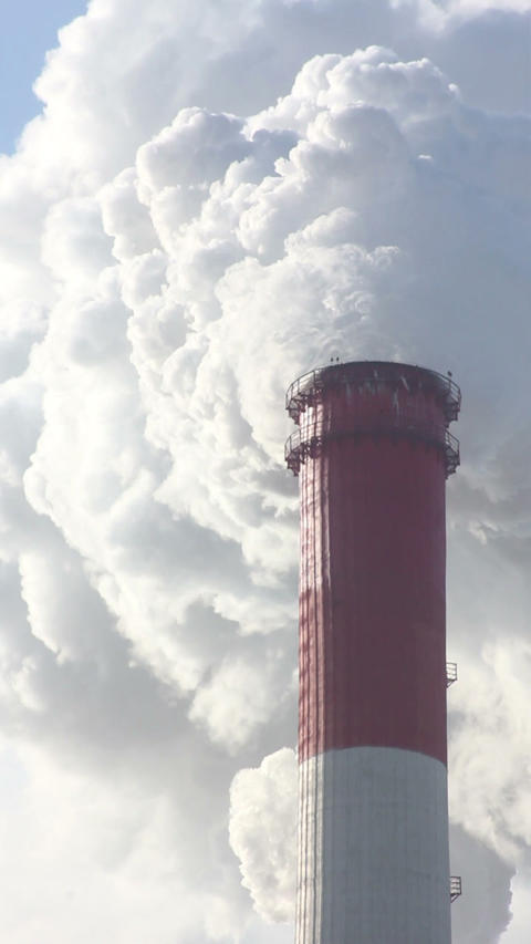 Industrial Chimney And Air Pollution Stock Video Footage