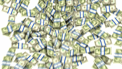 US dollar bundles flow with slow motion. Wealth and money Stock Video Footage