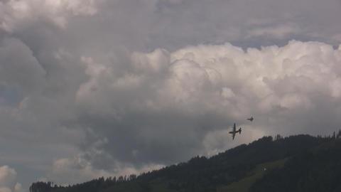 Eurofighter intercepting Hercules Stock Video Footage