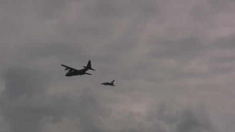 Eurofighter intercepting Hercules Stock Video Footage