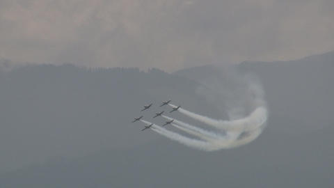 Pilatus PC 9 in formation Stock Video Footage