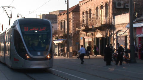 Jerusalem tram 1 Stock Video Footage