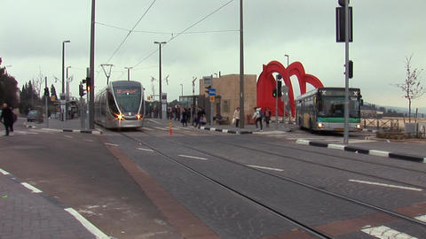 Jerusalem tram 3 Stock Video Footage